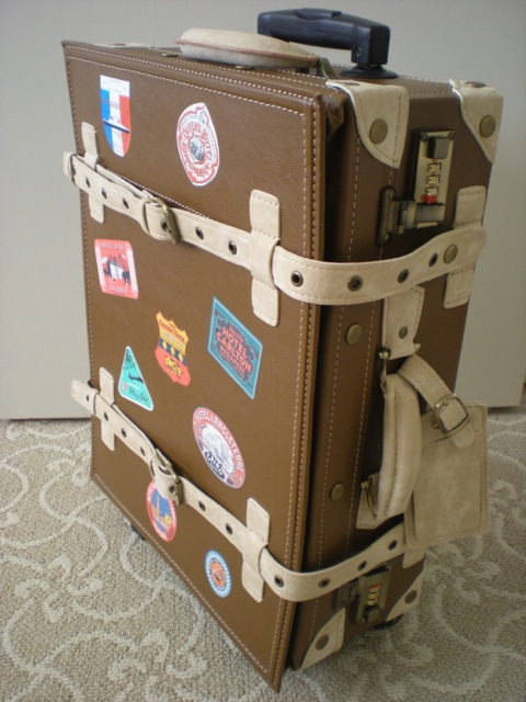 Bon Voyage Retro Suitcase With Vintage Luggage Stickers